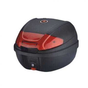 Top Case Black 30Lt-Red Reflectors