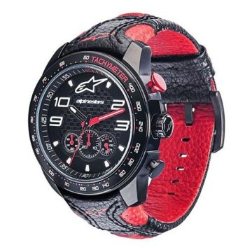 TECH WATCH CHRONO BLACK LEATHER-BLACK/RED