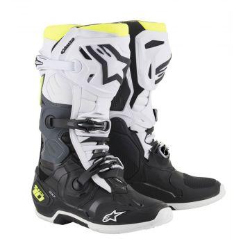 Alpinestars Tech 10 Boots - Black/White/Yellow Fluo