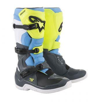 Alpinestars Tech 3 MX Boots - COOL GRAY YELLOW FLUO CYAN