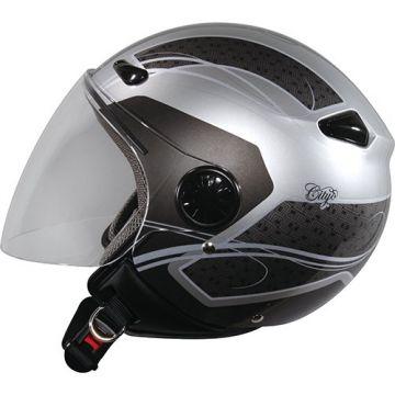 Zeus ZS-210B Helmet - Silver/Black