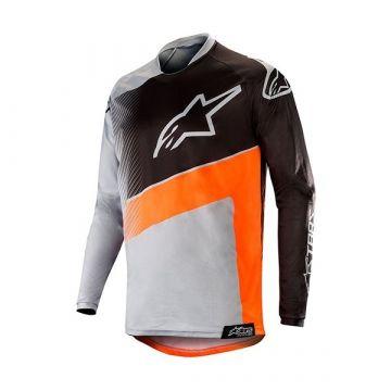 Alpinestars Racer Supermatic Jersey - Light Gray Orange Fluo Black