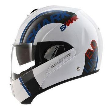 Shark Evoline Series 3 Drop Helmet - White/Blue