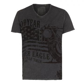 Goodyear Comfort T-Shirt V-Neck Madras-Washed Grey