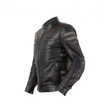 Prexport Stripes Leather Jacket - Black / Gun