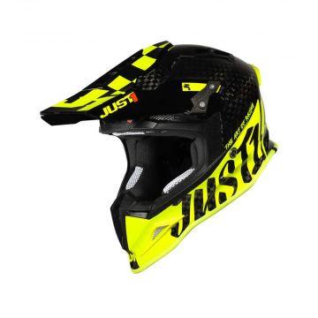 Just1 J12 Pro Racer Fluo Yellow Carbon Gloss - Motocross/Enduro Helmet