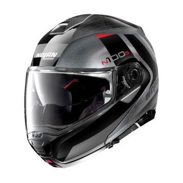 Nolan N1005 Hilltop N-Com Helmet - Scratched Chrome