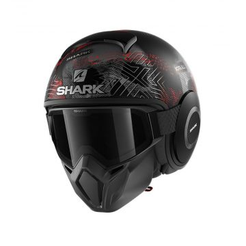 Shark Street Drak Helmet - Black Silver Red