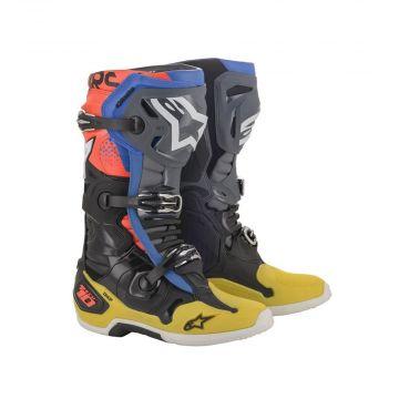 Alpinestars Tech 10 Boots - Black Yellow Blue Red Fluo