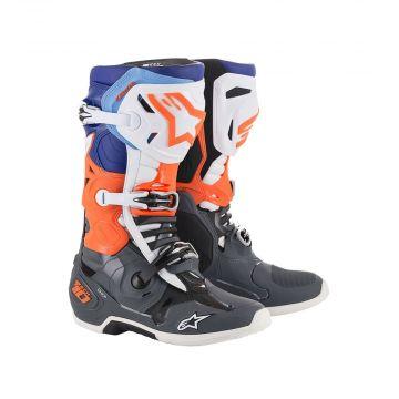 Alpinestars Tech 10 Boots - Grey / Orange Fluo / Black / White