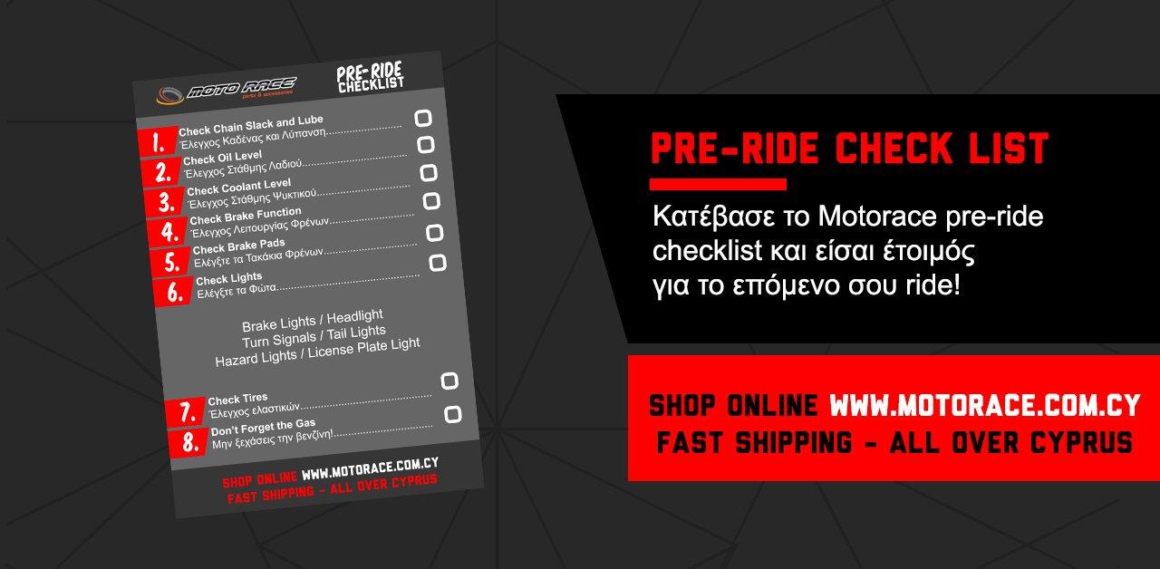 Κατέβασε το Motorace pre-ride checklist για να είσαι έτοιμός για το επόμενο σου ride!